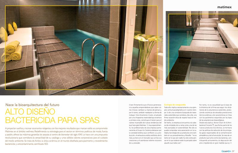 MATIMEX presenta ACTIVE en la revista QUALITY SPA